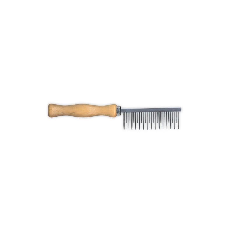 Peigne à dents alternées à manche en bois